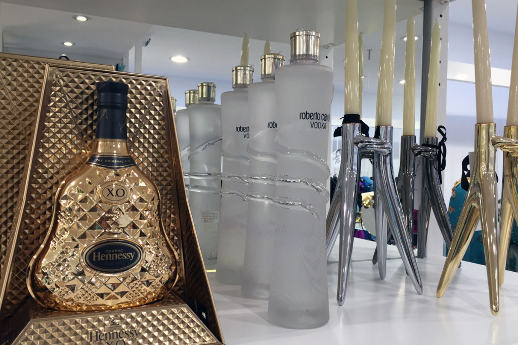 Hennesy cognac, Roberto Cavalli vodka and Kartell candle holders at PENTLJA CONCEPT STORE