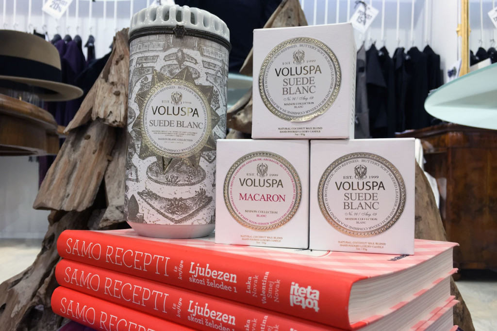 Voluspa scented candles and Vale Novak books at PENTLJA CONCEPT STORE
